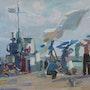 Fischer bei der Wäsche, 1959, Öl auf Karton. Axel Zwiener