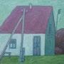 Haus mit dem Telegraphenmmasten 1992, Öl auf Leinwand. Axel Zwiener