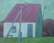 Haus mit dem Telegraphenmmasten 1992, Öl auf Leinwand.