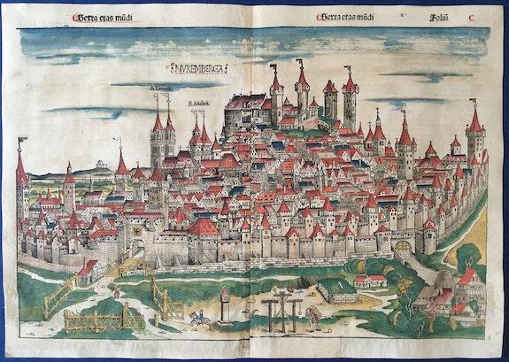 Doppelseitige Stadtansicht Nürnberg, Schedel Weltchronik 1493, koloriert!.  Thomas Kern