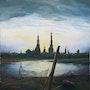 Stadt bei Mondaufgang, nach Caspar David Friedrich. Eddy