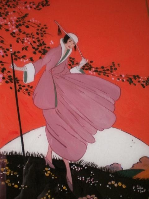 Peinture sous verre - le vent frivolent. Annie Saltel Annie Saltel