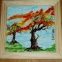 «Lever de solei en hiver» par Plume Magicienne, peintre xieyi sur porcelaine. Plume Magicienne