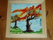 «Lever de solei en hiver» par Plume Magicienne, peintre xieyi sur porcelaine.