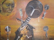 Pensée féconde (toile exposée du 3 au 13 avril à Ste Foy lès Lyon) Art africain.