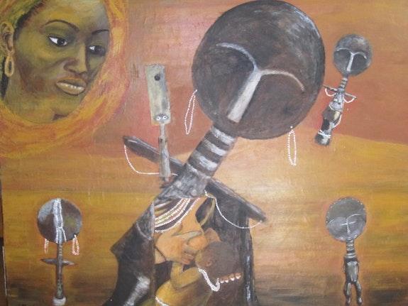 Pensée féconde (toile exposée du 3 au 13 avril à Ste Foy lès Lyon) Art africain. Eva C Eva