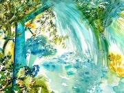 Cascade tropicale: aux couleurs de la terre amazonienne.