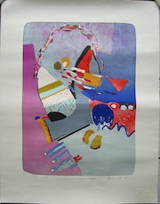 Large lithtograph Colourful Geyser handsigned ea/65 Vaclav Benedikt.