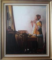 Copie de vermeer: » la jeune femme au collier». Daniel Moncla