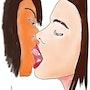 Beso de mujeres acuarela. Jean-Jacques Copetta