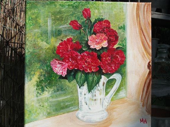 Bouquet à la fanêtre / Acrylique sur toile. Marie-Hélène Ducoudray Mariraff