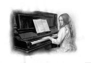 Mädchen am Klavier.