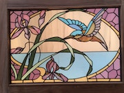 Small colibri stained glass 1900 in frame. Malander