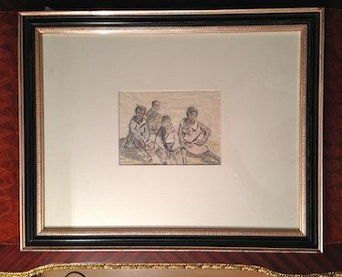 «Sitzende Kinder», Kreidezeichnung, I. K. H. Prinzessin Pilar von Bayern, 20. Jhdt. Thomas Kern