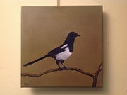 Oil Painting Of a Magpie Bird Artist Parabere Bresso.