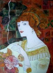 Peinture sous verre - Série «Les fumeuses de Georges de Feure».