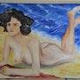 La femme à la plage. Corinne Duval