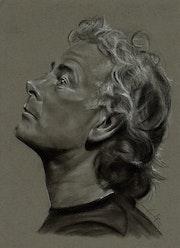 Franck Dubosc de profil, fusain, création du 190514.