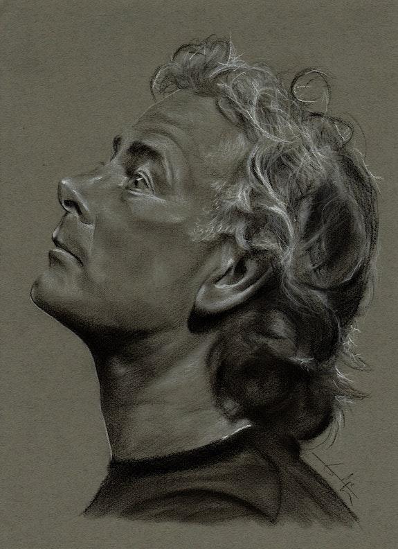 Franck Dubosc de profil, fusain, création du 190514. Philippe Flohic Philippe Flohic