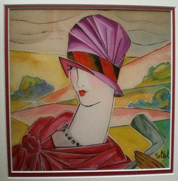 Peinture sous verre - une dame au chapeau. Annie Saltel Annie Saltel