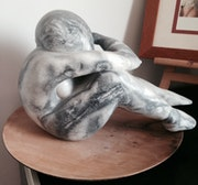 «The Dreamer» sculpture Black and White Soapstone.