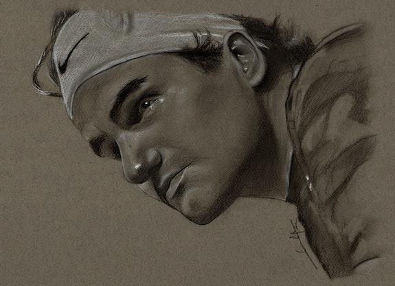 Roger Federer, fusain, création du 310514. Philippe Flohic Philippe Flohic