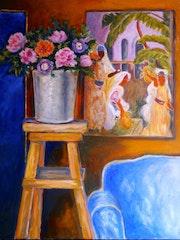 Les anémones Décor autour d'un vase. Marie-Helene Alvin