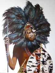 Jeune Massaï en costume d'apparat.