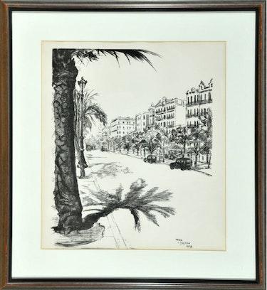 Lithographie «Großstadtstraße mit Palmen und Autos», Prinzessin Pilar von Bayern. Thomas Kern