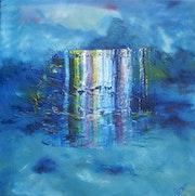 Impression in Blau Öl auf Acryl mit Strukturen.