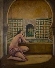 «Sara en el baño». Desnudo en uno de los baños de la Alhambra de Granada..