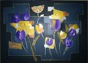 Tulipes sauvages jaunes et mauves. Marie Joelle Robert