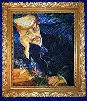 Portrait Dr. Gachet, Vincent van Gogh, im prunkvollen goldfarbenen Holzrahmen. Thomas Kern