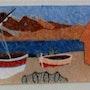Etang Marin- paysage catalan - fresque. Maryline Van Poucke