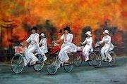 Promenade à bicyclette au Vietnam.