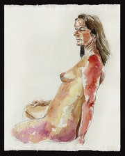 Tonya at Rest - Watercolour Nude.