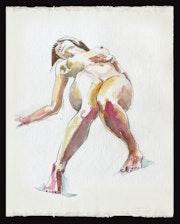 Nattie Reclining - Watercolour Nude.