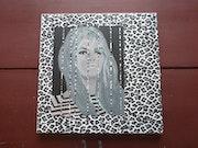 Bardot revisitée acrylique et collages.