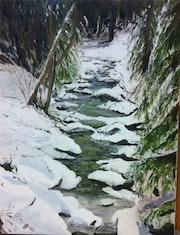 Le ruisseau sous la neige.