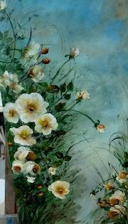 Diptyque de roses jaunes.