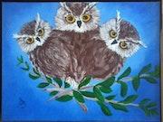 «Hiboux jolis» de la série «Le petit monde sauvage» Peinture huile/toile, SaBra.