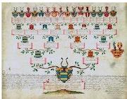 Aufschwörungstafel Franziska von Gemmingen, 32 Wappenabbildungen, 27. Juni 1775!. Thomas Kern
