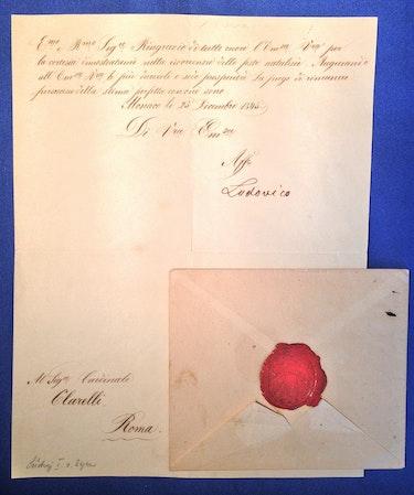 Autograph König Ludwig I von Bayern, 23. Dezember 1845, handschriftlicher Brief. Thomas Kern