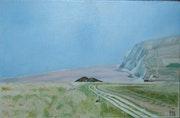Le cap Blanc Nez (côte d'Opale) par temps brumeux.