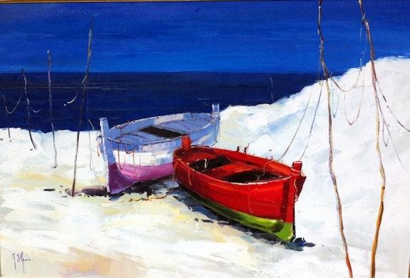 Barques sur la plage. Gilbert De St Amans Gilbert De St Amans