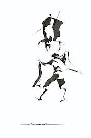 Tauromachie Encre de Chine. Artiste Peintre