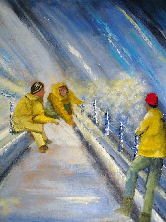 Techniciens sur un barrage hydraulique. Pat Pat