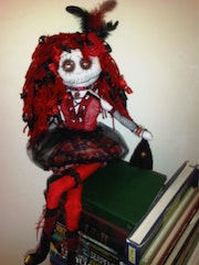 Marcia the gothic hand made rag art doll. Dusktilldawn