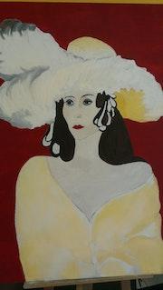 La femme au chapeau de plumes blanches - reproduction. Globe