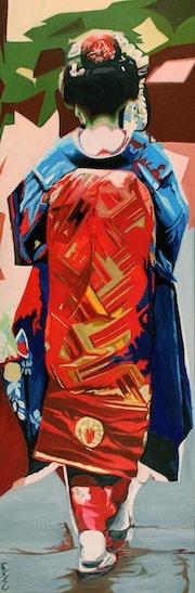 Geisha kimono rouge. Clotilde Nadel